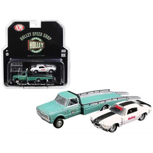 "1967 Chevrolet Ramp Truck Turquoise and 1971 Chevrolet Camaro Z/28 White with Black Stripe ""Holley Speed Shop"" ""Acme Exclusive"" 1/64 Diecast Model Cars by Greenlight for Acme"