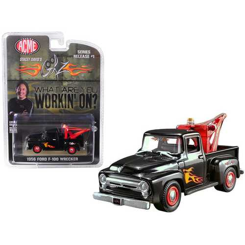 """1956 Ford F-100 Wrecker Tow Truck Black with Flames (Stacey David's """"GearZ"""") """"What are you working on?"""" 1/64 Diecast Model Car by Greenlight for ACME"""