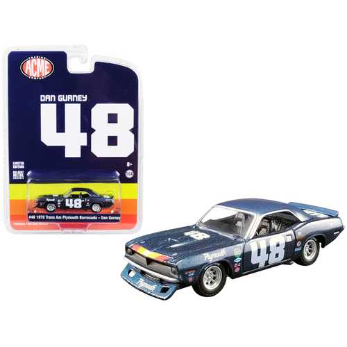 "1970 Plymouth Barracuda Trans Am #48 Dan Gurney ""ACME Exclusive"" 1/64 Diecast Model Car by Greenlight for ACME"