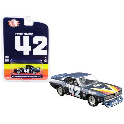 "1970 Plymouth Barracuda Trans Am #42 Swede Savage ""ACME Exclusive"" 1/64 Diecast Model Car by Greenlight for ACME"