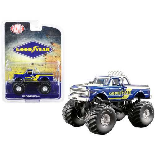 """1970 Chevrolet K-10 Monster Truck """"Goodyear"""" Dark Blue with Yellow Stripes """"ACME Exclusive"""" 1/64 Diecast Model Car by Greenlight for ACME"""