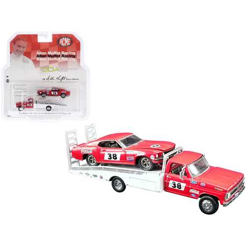"Ford F-350 Ramp Truck #38 Red and White with 1969 Ford Mustang Trans Am #38 Red ""Coca-Cola"" Allan Moffat Racing ""DDA Collectibles"" Series ""ACME Exclusive"" 1/64 Diecast Model Cars by Gre"