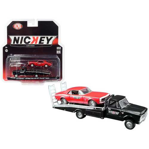 "1967 Chevrolet C-30 Ramp Truck Black with 1967 Chevrolet Camaro Red ""Nickey Performance"" ""Acme Exclusive"" 1/64 Diecast Model Cars by Greenlight for ACME"