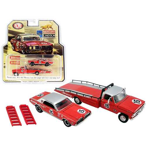 """Ford F-350 Ramp Truck with 1967 Mercury Trans Am Cougar #15 Parnelli Jones Red with Silver Top """"ACME Exclusive"""" 1/64 Diecast Model Cars by Greenlight for ACME"""