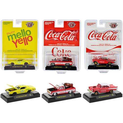 ''Coca-Cola & Mello Yello'' Set of 3 pieces 1/64 Diecast Model Cars by M2 Machines