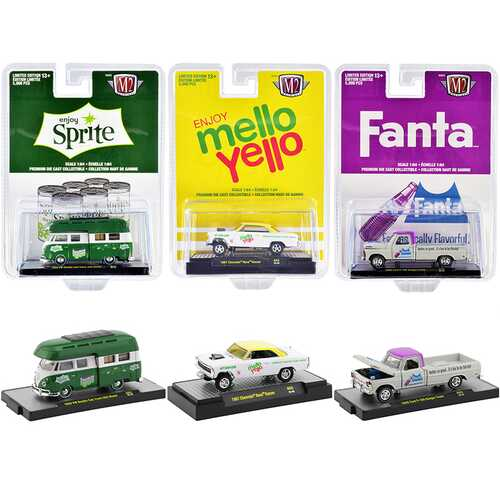"""""""3 Sodas"""" Set of 3 pieces Limited Edition to 5000 pieces Worldwide 1/64 Diecast Model Cars by M2 Machines"""