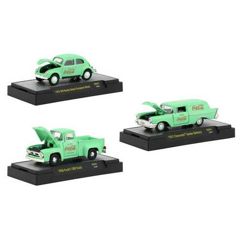 """Coca-Cola"" Green Set of 3 Cars Limited Edition to 4,800 pieces Worldwide ""Hobby Exclusive"" 1/64 Diecast Model Cars by M2 Machines"