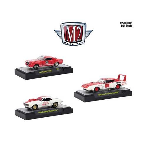"""Coca-Cola"" Set of 3 Cars Limited Edition to 4,800 pieces Worldwide Hobby Exclusive 1/64 Diecast Models by M2 Machines"