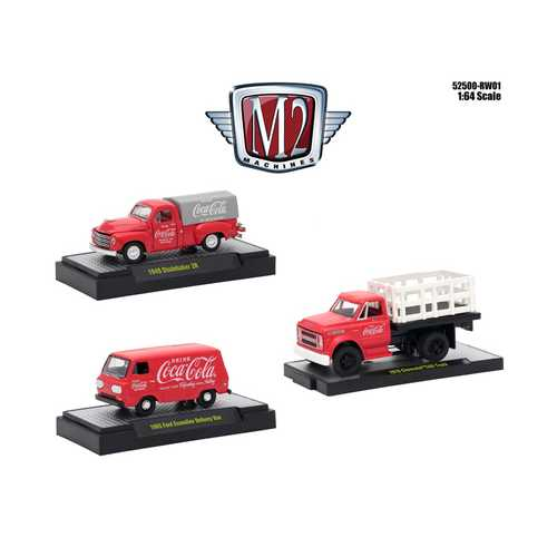 """Coca-Cola"" Release 1, Set of 3 Cars Limited Edition to 4,800 pieces Worldwide Hobby Exclusive 1/64 Diecast Models by M2 Machines"
