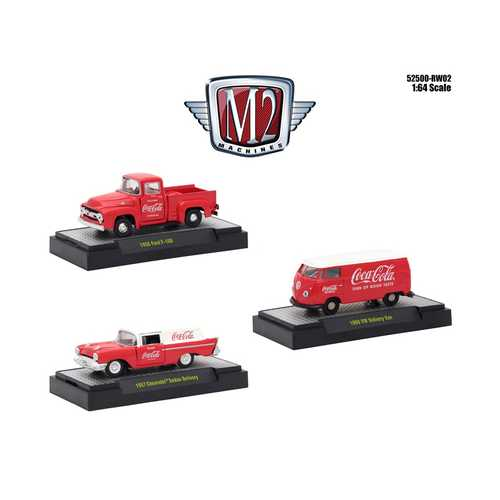 """Coca-Cola"" Release 2, Set of 3 Cars Limited Edition to 4,800 pieces Worldwide Hobby Exclusive 1/64 Diecast Models by M2 Machines"