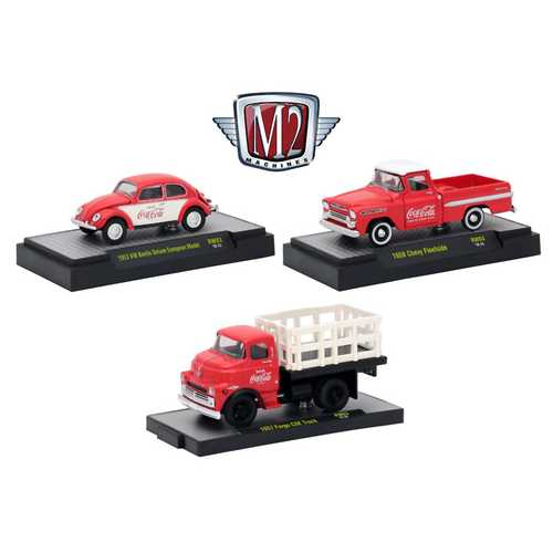 """Coca-Cola"" Release 3, Set of 3 Cars Limited Edition to 4,800 pieces Worldwide Hobby Exclusive 1/64 Diecast Models by M2 Machines"