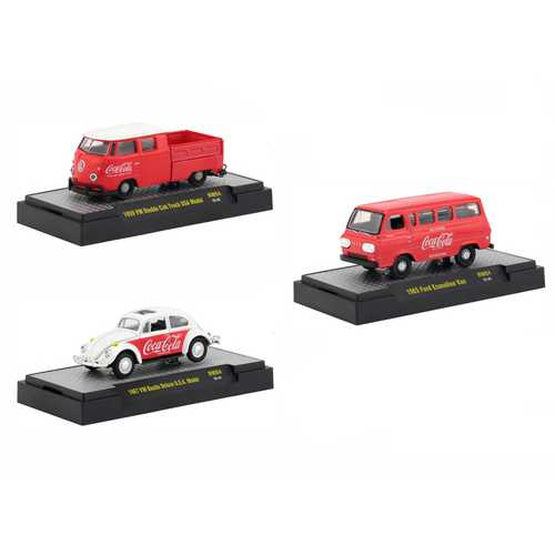 """Coca-Cola"" Release 4, Set of 3 Cars Limited Edition to 4,800 pieces Worldwide Hobby Exclusive 1/64 Diecast Models by M2 Machines"