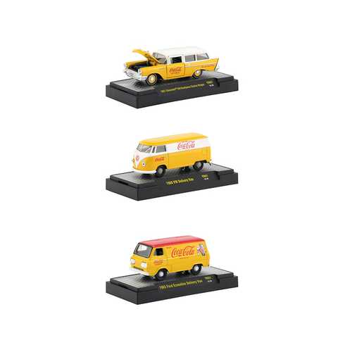 """Coca-Cola"" Yellow Set of 3 Cars Limited Edition to 4,800 pieces Worldwide Hobby Exclusive 1/64 Diecast Models by M2 Machines"
