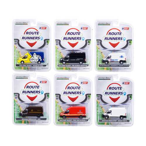 """Route Runners"" Set of 6 Vans Series 2 1/64 Diecast Models by Greenlight"