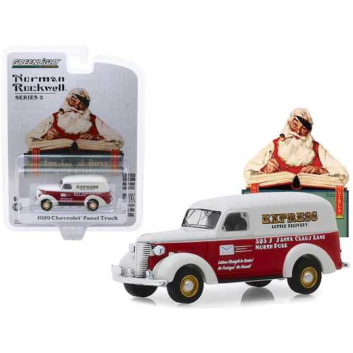 """1939 Chevrolet Panel Truck Red and White """"Express Letter Delivery"""" """"Norman Rockwell"""" Series 2 1/64 Diecast Model Car by Greenlight"""