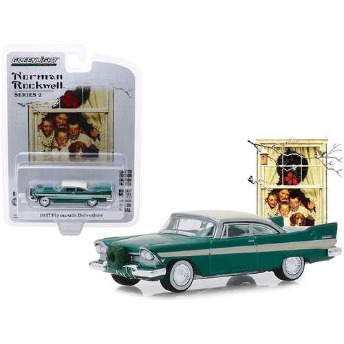 "1957 Plymouth Belvedere with Wreath Accessory Green with Cream Top ""Norman Rockwell"" Series 2 1/64 Diecast Model Car by Greenlight"