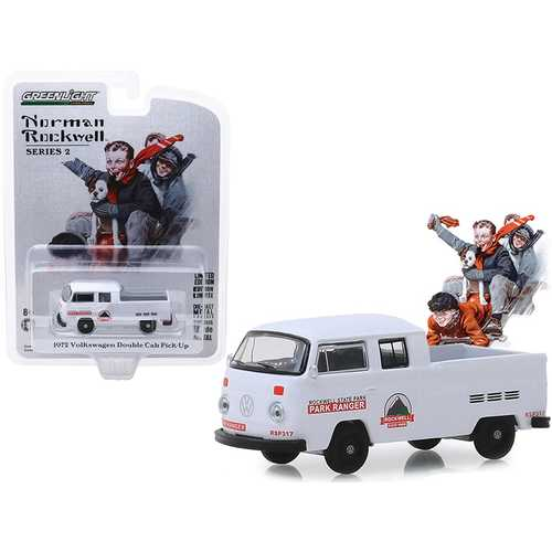"""1972 Volkswagen Double Cab Pickup Truck White """"Rockwell State Park"""" """"Norman Rockwell"""" Series 2 1/64 Diecast Model Car by Greenlight"""