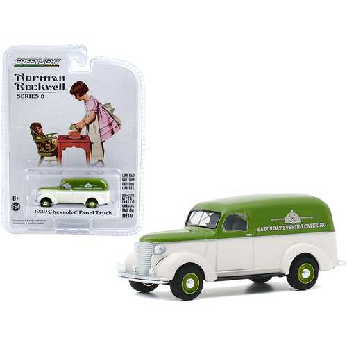 """1939 Chevrolet Panel Truck """"Saturday Evening Catering"""" Green and Cream """"Norman Rockwell"""" Series 3 1/64 Diecast Model Car by Greenlight"""