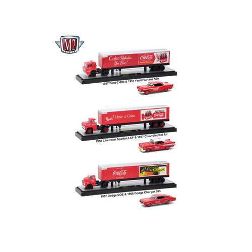 "Auto Haulers ""Coca-Cola"" Release, 3 Trucks Set 1/64 Diecast Models by M2 Machines"