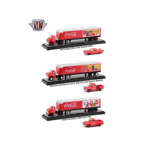 "Auto Haulers ""Coca-Cola"" 3 Trucks Set 1/64 Diecast Models by M2 Machines"