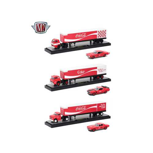 "Auto Haulers ""Coca-Cola"" Release, 3 Trucks and Cars Set 1/64 Diecast Models by M2 Machines"