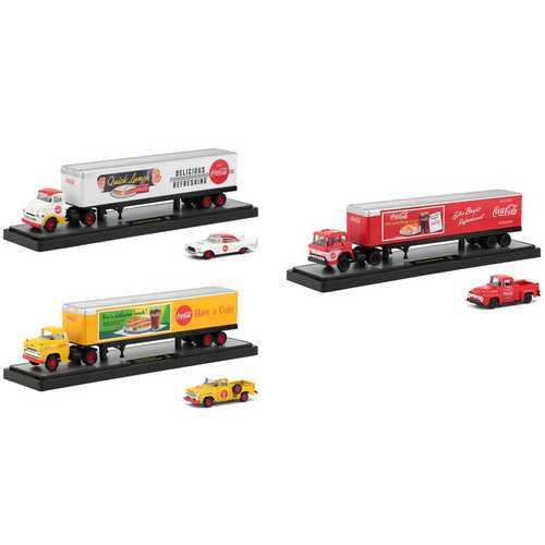 "Auto Haulers ""Coca-Cola"" Set of 3 Trucks ""Quick Lunch"" Release 1/64 Diecast Models by M2 Machines"