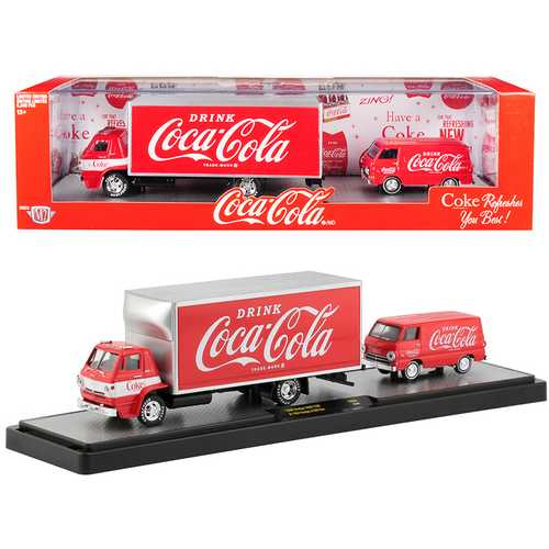 "1969 Dodge L600 COE Truck Coke Red with White Stripe and 1964 Dodge A100 Van Coke Red ""Coca-Cola"" Set Limited Edition to 5880 pieces Worldwide 1/64 Diecast Models by M2 Machines"