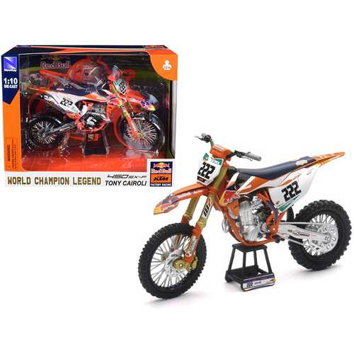 "KTM 450 SX-F #222 Tony Cairoli World Champion Legend ""Red Bull KTM Factory Racing"" 1/10 Diecast Motorcycle Model by New Ray"