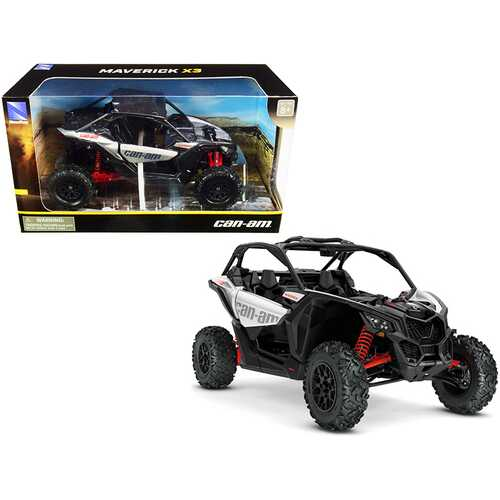 CAN-AM Maverick X3 ATV Hyper Silver and Red 1/18 Diecast Model by New Ray