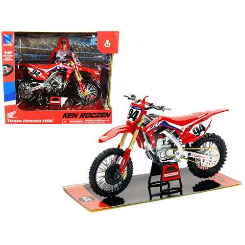 "Honda CRF450R #94 Ken Roczen Red ""Honda HRC Team"" Race Bike 1/12 Diecast Motorcycle Model by New Ray"