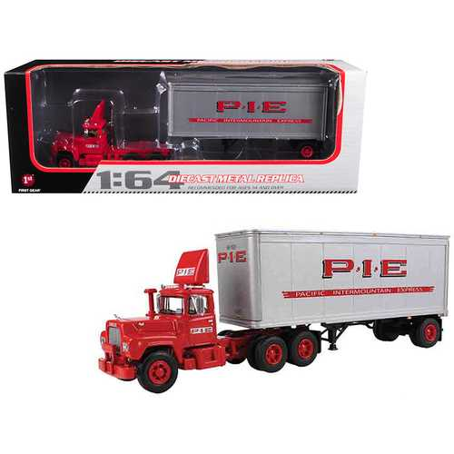 Mack R Model Day Cab P.I.E. With 28' Pop Trailer 1/64 Diecast Model by First Gear