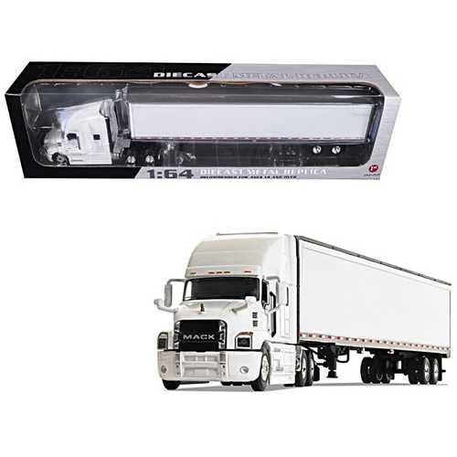 Mack Anthem Sleeper Cab with 53' Trailer White 1/64 Diecast Model by First Gear