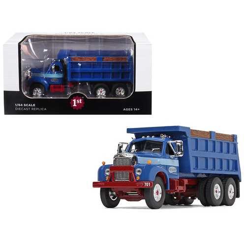 "Mack B-61 Tandem Axle Dump Truck ""Sid Kamp"" Dark Blue 1/64 Diecast Model by First Gear"
