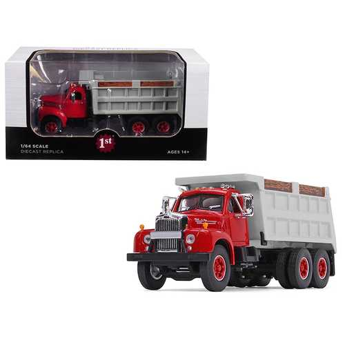 Mack B-61 Tandem Axle Dump Truck Red Cab/ Gray Body 1/64 Diecast Model by First Gear