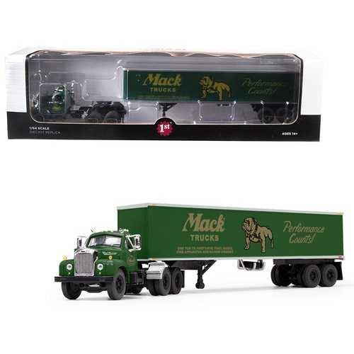 "Mack B-61 Day Cab with 40' Vintage Trailer ""Mack Trucks: Performance Counts"" Green 1/64 Diecast Model by First Gear"