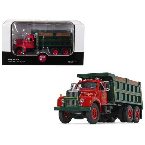 "Mack B-61 Tandem Axle Dump Truck ""Mack Trucks, Inc."" Red Cab and Green Body 1/64 Diecast Model by First Gear"