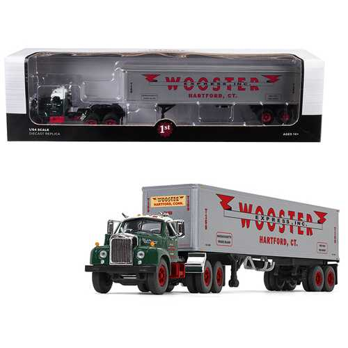 "Mack B-61 Day Cab Green with 40' Vintage Trailer ""Wooster Express Inc."" 15th in a ""Fallen Flag Series"" 1/64 Diecast Model by First Gear"