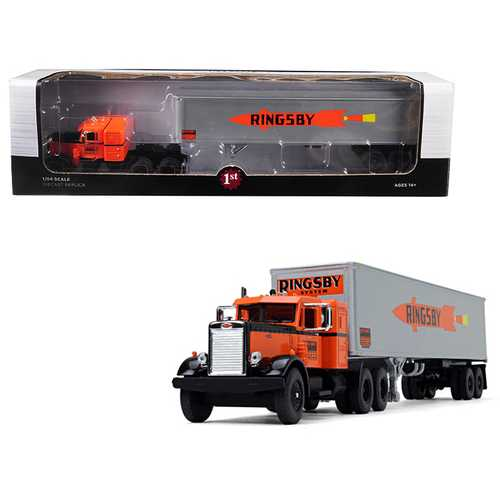 """Peterbilt 351 36' Sleeper Cab with 40' Vintage Trailer """"Ringsby System"""" 18th in a """"Fallen Flags Series"""" 1/64 Diecast Model by First Gear"""