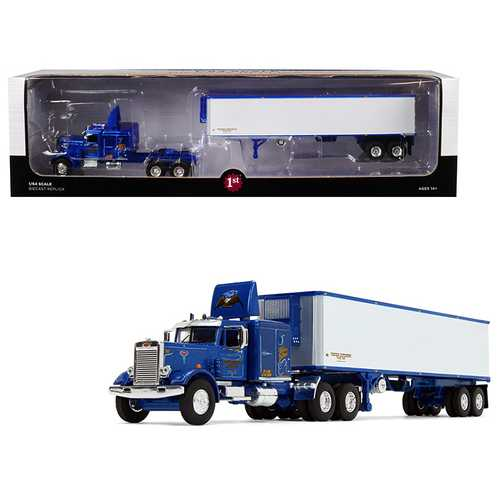 "Peterbilt 351 63' Sleeper Cab with 40' Vintage Trailer ""Western Distributing"" Blue and White 1/64 Diecast Model by First Gear"