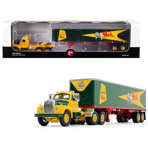 "Mack B-61 Day Cab with 40' Vintage Trailer ""Built Like a Mack"" Yellow and Green 1/64 Diecast Model by First Gear"