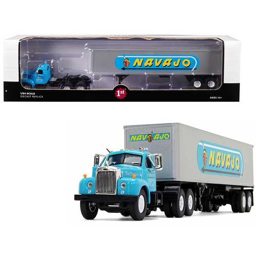 "Mack B-61 Day Cab with 40' Vintage Trailer ""Navajo"" Turquoise and Silver 1/64 Diecast Model by First Gear"