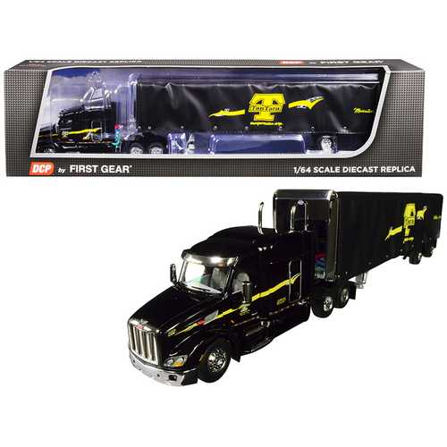 """Peterbilt Model 579 with 72"""" Mid-Roof Sleeper Cab and 53' Utility Roll Tarp Spread-Axle Trailer """"TanTara Transportation Corp."""" Black 1/64 Diecast Model by DCP/First Gear"""