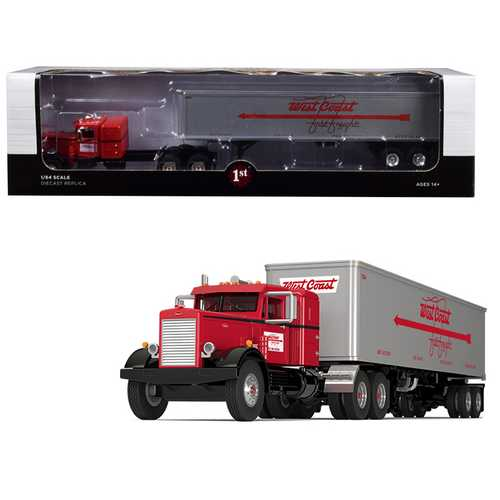 "Peterbilt 351 36"" Sleeper Cab with 40' Vintage Trailer ""West Coast Fast Freight"" Red and Gray 24th in a ""Fallen Flags Series"" 1/64 Diecast Model by First Gear"