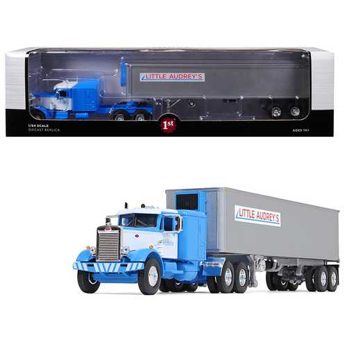 """Peterbilt 351 Long Frame with 63"""" Sleeper Bunk and 40' Vintage (Reefer) Refrigerated Trailer """"Little Audrey's Transportation"""" Blue and White 26th in a """"Fallen Flags Series"""" 1/64 Diecas"""