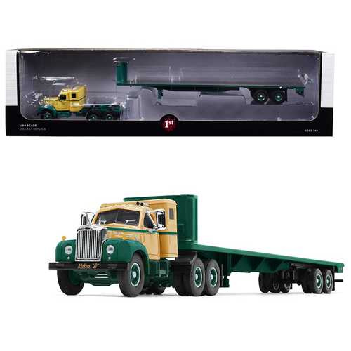 "Mack B-61 Sleeper Cab with 48' Flatbed Trailer ""Killer ""B"" Green and Beige 1/64 Diecast Model by First Gear"