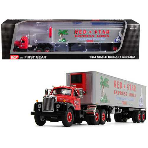 "Mack B-61 Day Cab with 40' Vintage Reefer Refrigerated Trailer ""Red Star Express Lines"" 28th in a ""Fallen Flag Series"" 1/64 Diecast Model by DCP/First Gear"