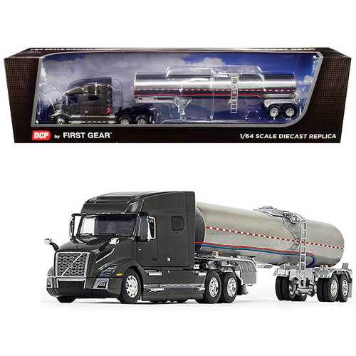 Volvo VNL 740 Mid-Roof Sleeper Cab Urban Bronze Metallic with Brenner Food-Grade Chrome Tank Trailer 1/64 Diecast Model by DCP/First Gear