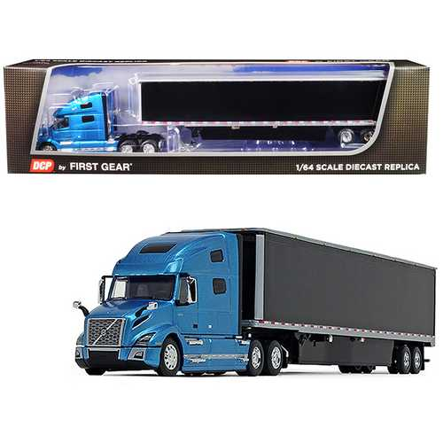 Volvo VNL 760 High-Roof Sleeper Cab with 53' Dry Goods Trailer and Skirts Sky Blue Metallic and Black 1/64 Diecast Model by DCP/First Gear