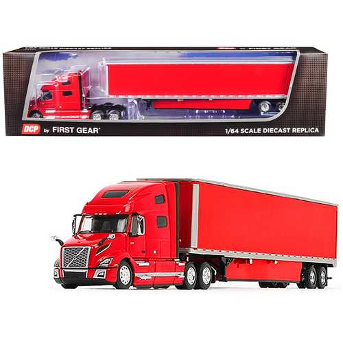 Volvo VNL 760 High-Roof Sleeper Cab with 53' Dry Goods Trailer and Skirts Viper Red 1/64 Diecast Model by DCP/First Gear