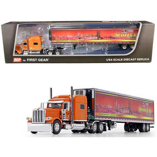 """Peterbilt 389 70"""" Mid-Roof Sleeper Cab Tractor Truck with 53' Utility Reefer Refrigerated Trailer """"Scotlynn Group"""" Orange 1/64 Diecast Model by DCP/First Gear"""